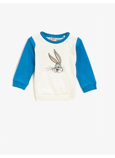 Koton Pamuklu Bugs Bunny Lisansli Baskili Bisiklet Yaka Sweatshirt Ekru